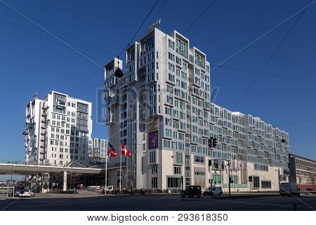Copenhagen, Denmark - February 27, 2019: Exterior View Of The Tivoli Hotel And Congress Center In Co