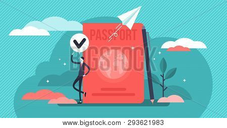Citizenship Vector Illustration. Flat Tiny Country Passport Persons Concept. Legal Document To Trave