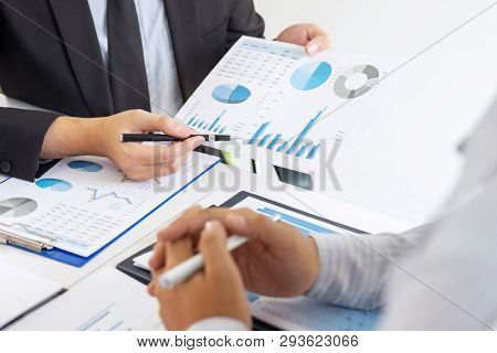 Professional Executive Manager, Business Partner Discussing Ideas Marketing Plan And Presentation Pr