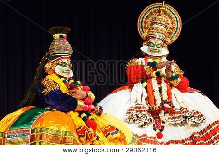 CHENNAI, INDIA - SEPTEMBER 7: Indian traditional dance drama Kathakali preformance on September 7, 2009 in Chennai, India. Performers play Arjuna (pacha) and Krishna characters