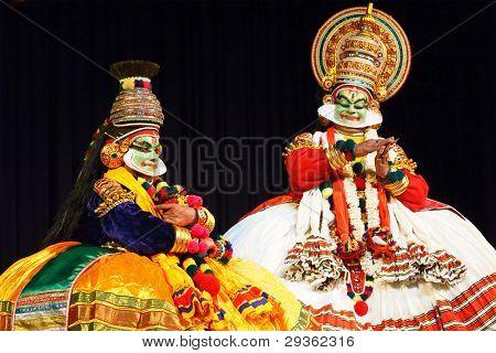 CHENNAI, INDIA - SEPTEMBER 7: Indian traditional dance drama Kathakali preformance on September 7, 2009 in Chennai, India. Performers play Arjuna (pacha) and Krishna characters