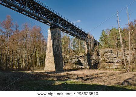 Viaduct Over Robecske Udoli Valley In Czech Turist Region Machuv Kraj
