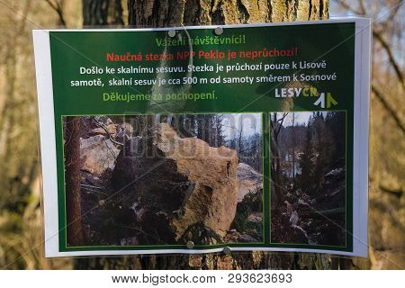 Peklo, Czech Republic - March 20, 2019: Information Table In Robecske Udoli Valley In Czech Turist R