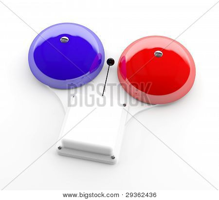 Red And Blue Alarm Bell 3D Model