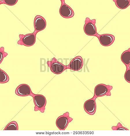 Summer Pattern With Sunglasses On A Yellow Background