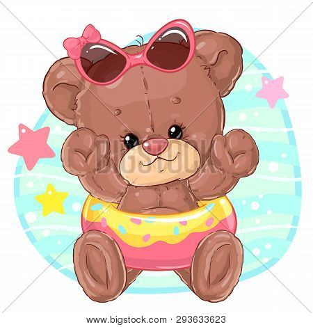 Girl Teddy Bear On The Beach Swims In The Inflatable Circle. Summer Rest. Holidays With Children.