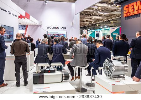 Hannover , Germany - April 02 2019 : Wolong Is Presenting The Newest Generation Of Cobots - Collabor