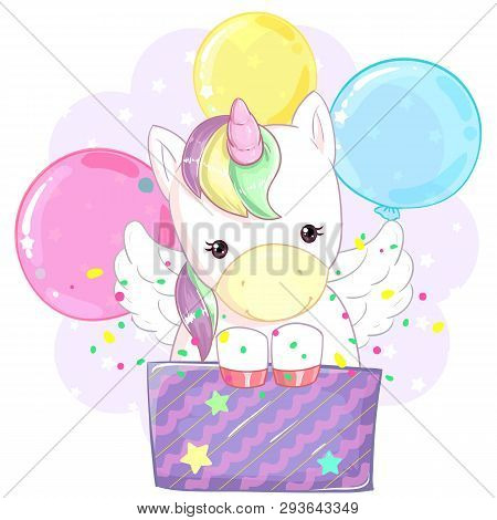 Cute Colorful Rainbow Unicorn In A Gift Box Against The Background Of Balloons. Birthday Gift