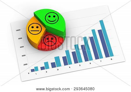 Marketing Analytics Concept Of A Growing Business Graph And Pie Chart With Positive Customer Experie