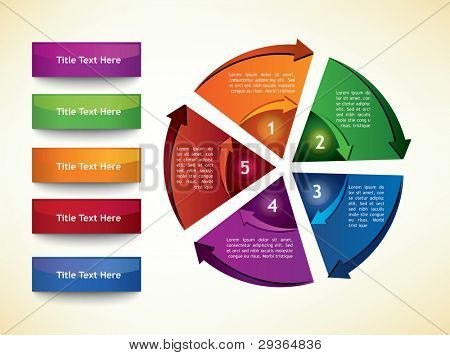 Business Diagram Template with arrows, five segments and title buttons poster