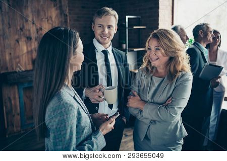 Close Up Photo Confident Business People Excited She Her Mature Boss Lady He Him His Conversation Te