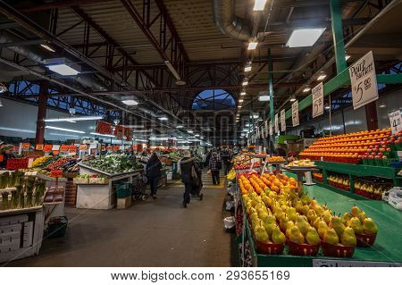Montreal, Canada - November 9, 2018: Main Alley Of Marche Jean Talon Market With Merchants Selling F