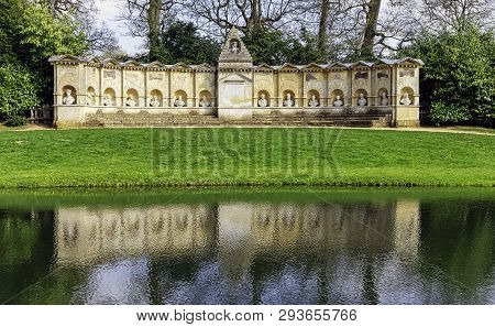 Stowe, Buckinghamshire, Uk - March 28: Picture Of Temple Of British Worthies On March 28, 2019 In St