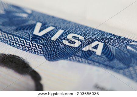 American Visa Theme. Close Up Of Usa Visa Stamp