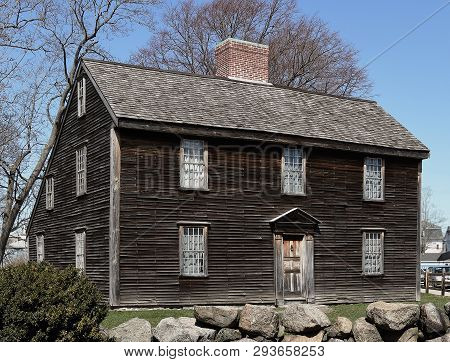 John Adams Birthplace In Quincy, Massachusetts. Historic Landmark And Museum