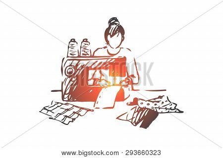 Sewing Machine, Woman, Fabric, Textile, Clothing Concept. Hand Drawn Woman Sews On A Sewing Machine
