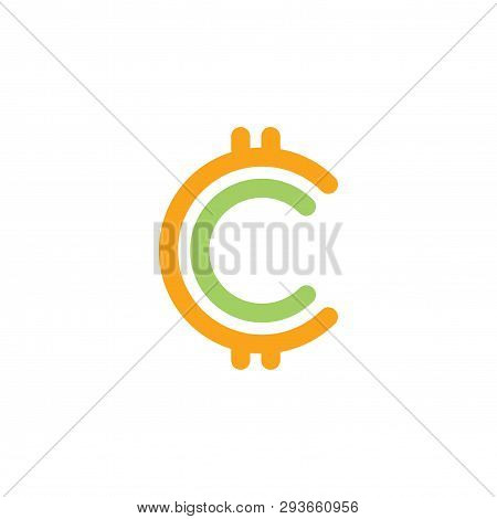 C Cryptocurrency Vector Logo Element. C Cryptocurrency Design Collection. Vector Illustration