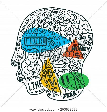 Mental Health Problems Concept Illustration. Human Head With Images Of Life Mental Challenges And Po