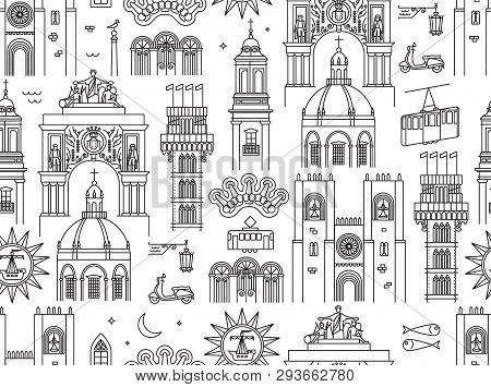 Lisbon Portugal Seamless Pattern, Geometric Line Art Style. Surface Pattern Design For Wallpaper, Ba