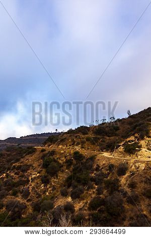 Hillside Hiking Trail With Surrounding Plants And Sky