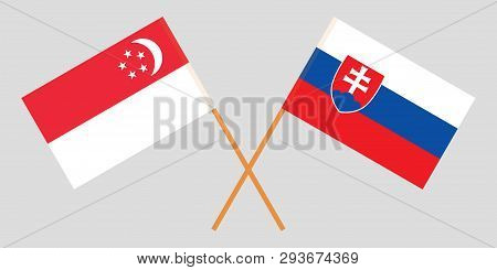 Singapore And Slovakia. The Singaporean And Slovakian Flags. Official Colors. Correct Proportion. Ve