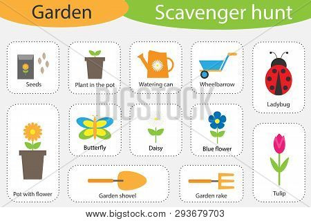 Scavenger Hunt, Garden Theme, Different Colorful Pictures For Children, Fun Education Search Game Fo