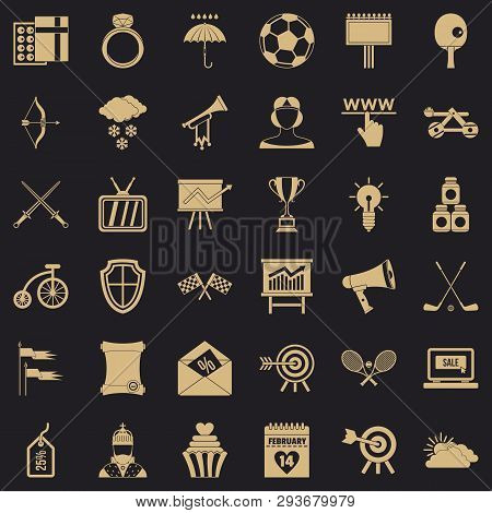Arrow And Bow Icons Set. Simple Style Of 36 Arrow And Bow Vector Icons For Web For Any Design