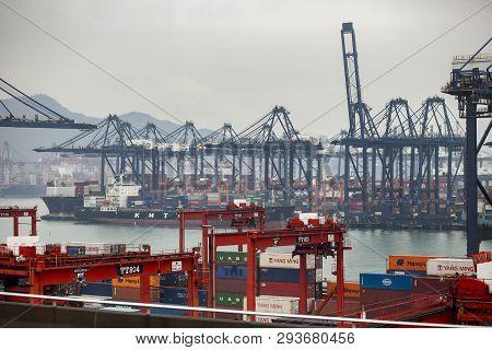 Hongkong China - March15,2019 : Container Ship Approaching In Cargo Logistic Port ,hongkong Is One O