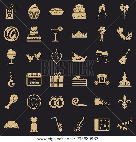 Good Banquet Icons Set. Simple Style Of 36 Good Banquet Vector Icons For Web For Any Design