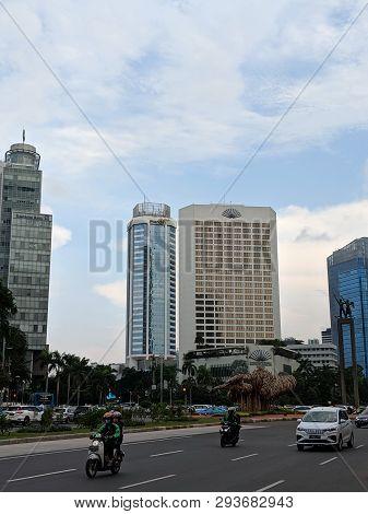 Jakarta, Indonesia - February 16, 2019: Traffic On Jalan Thamrin (thamrin Street) Around Bundaran Hi