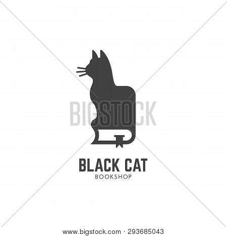 Black Cat Bookshop Logo Design Template. Vector Illustration.