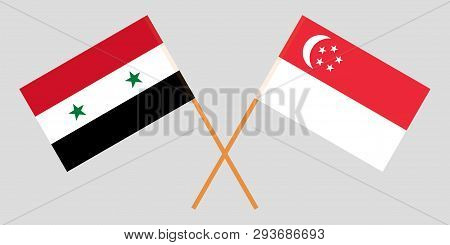 Singapore And Syria. The Singaporean And Syrian Flags. Official Colors. Correct Proportion. Vector I