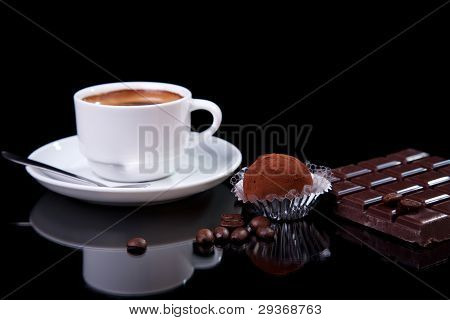 Coffee With Chocolate - Brigadier, On Black With Reflexion