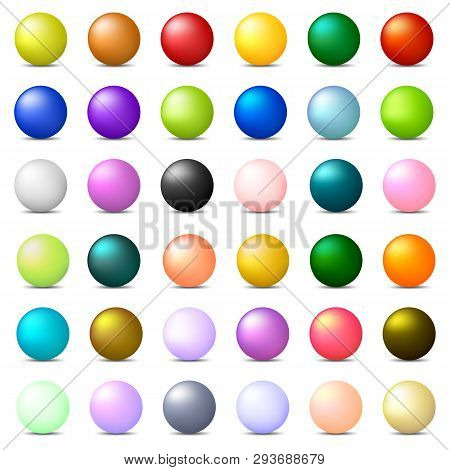 Collection Of 36 Colorful Realistic Spheres Isolated On White Background. Glossy Shiny Balls. 3d Col