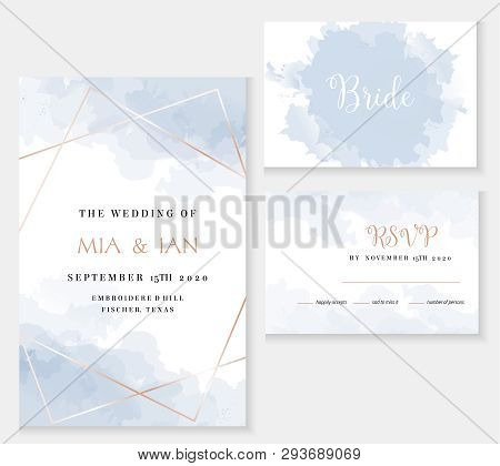 Stylish Dusty Blue And Gold Geometric Vector Design Cards. Set Of Golden Line Art Cards. Winter Wedd