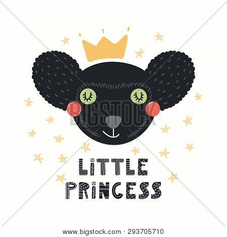 Hand Drawn Vector Illustration Of A Cute Funny Indri Lemur In A Crown, With Lettering Quote Little P