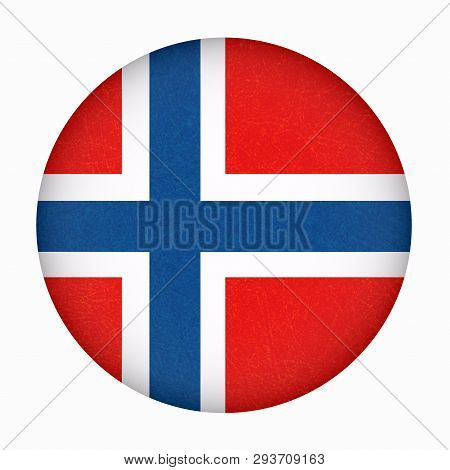 Norway Flag In Circle Shape. Scandinavian Country. Isolated Button Of Norwegian Banner With Scratche