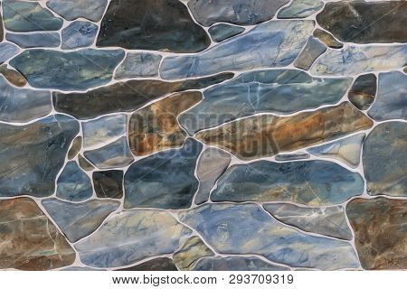 Seamless Ashlar Stone Wall Texture Background. Textured Wall. Finish The Fence With A Rock