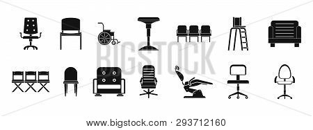 Chair Icon Set. Simple Set Of Chair Icons For Web Design Isolated On White Background