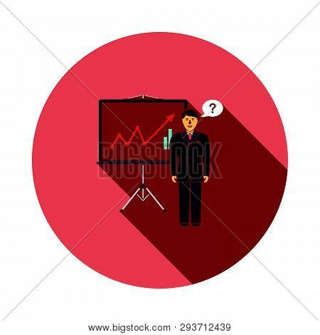 Clerk Near Analytics Stand Icon. Flat Color Design. Vector Illustration.