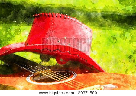 Guitar And Red Hat