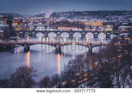 Winter In Prague - Bridges On Vltava River. Prague, Bohemia, Czech Republic.