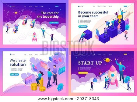 Set Template Design, Isometric Concept On Leadership, Successful, Solution, Startup.