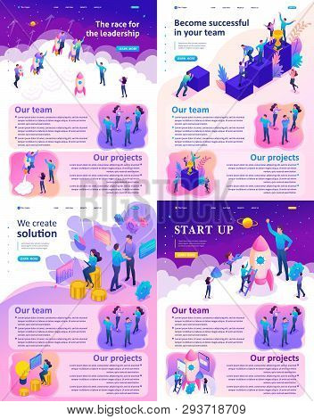Isometric Website Template Landing Page Bright Concept Leadership, Successful, Solution, Startup.