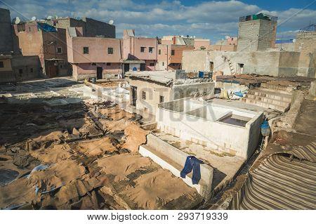 Tannery In Marrakesh In Morocco. Marrakesh, Marrakesh-safi, Morocco.