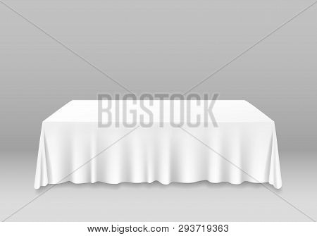 Realistic Detailed 3d White Blank Table With Tablecloth Template Mockup. Vector
