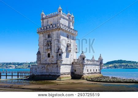 Belem Tower ( Torre De Belem) Or The Tower Of St Vincent Is A Fortified Tower Located In The Civil P