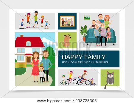 Flat Happy Family Concept With Animals Mother Father Children Riding Bicycles Rollers Skateboards St