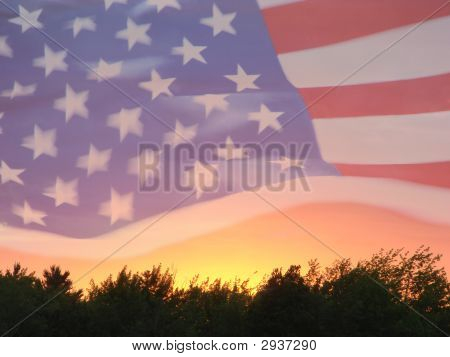 American Flag On A Sunset Backgound