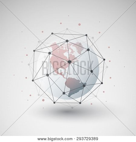 Cloud Computing And Networks Design Concept With Polygonal Sphere And Earth Globe - Big Data, Global